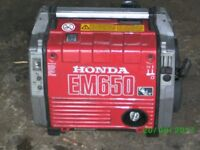 HONDA EM650 PORTABLE GENERATOR, EXCELLENT STARTER AND RUNNER, RECENTLY SERVICED