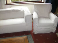 IKEA WHITE CANVAS SETTEE AND ARM CHAIR REDUCE TO £80.00 FOR QUICK SALE.