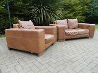 Nubuck Tan Leather 2+1 Suite (100% Leather)