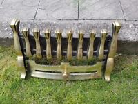 Solid brass front from coal or gas fire. Antique?