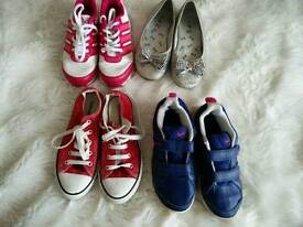 Girls trainers shoes bundle size 1 junior (converse, Adidas, Nike and TU)