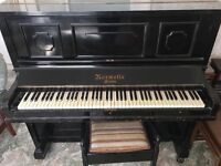 Vintage Normelle London upright piano and stool
