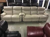 Designer 3 and 2 seater cream leather electric Recliner sofa set three plus two cheap bargain