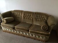Three Piece Suite in Olive Green with Reversible cushions