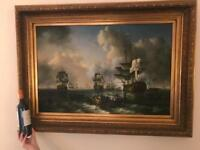 Naval Seascape Oil on Canvas