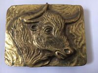 Old Brass Belt Buckle (I Think) With Bulls Head Motif SOLID