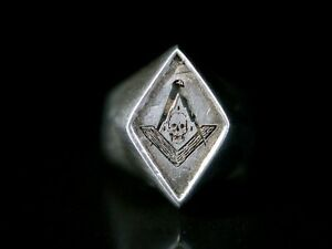 Masonic Freimaurer Ring Silber 800 Zirkel Winkel & Totenkopf