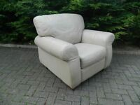 Beige 100% Real Leather Armchair