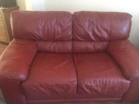 ITALIAN LEATHER TWO SEATER AND ARMCHAIR