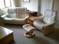 LIKE NEW Stressless Recliner Armchair and Sofa Suite with Footstool