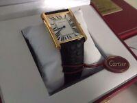 New Swiss Men's Cartier Tank Solo Golden Case Watch