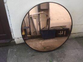 """Round Mirror Wall Clock - Peach Colour Glass face - 104 cm (40.75"""") Diameter"""