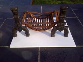 Antique Victorian wrought iron Dogs with Grate