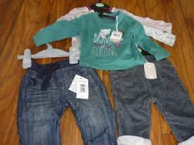 New 3-6 month baby boy's trousers and tops