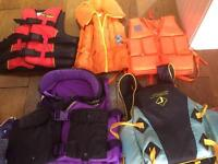 Various boucancy jackets in various sizes and colours. Collection from Sprowston.