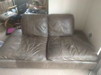 2 Brown Leather Sofas 1 & 2 seaters. Free for collection.