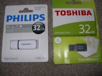 32gb Toshiba AND Philips memory sticks, new
