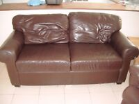 Brown Leather Sofa (2 seater) & Reclining armchair £130 the lot or £70 each.