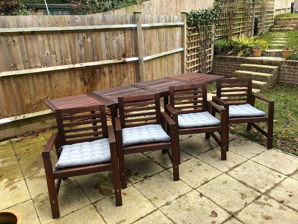 IKEA Applaro outdoor drop-leaf table and chairs with Hallo Grey ...