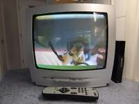 Silver Phillips TV 14 inch screen with Freeview box and remote control