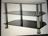 Smoked glass Tv stand with chrome dividers