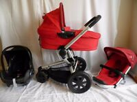 Quinny buzz 3 Red Travel System Pushchair, Carrycot and Black Maxi cosi cabriofix Car Seat