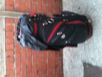Wilson staff trolley bag excellent condition leather itch hood.