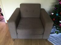 Grey material arm chair