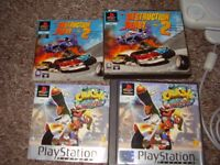 PLAYSTATION WITH 4 RARE GAMES CRASH RESIDENT EVIL DESTRUCTION DERBY AND HARD CORE