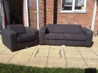 grey 2 seater sofa and matching chair