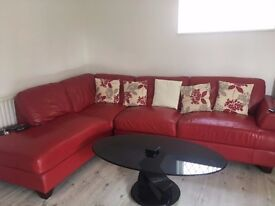 Corner Sofa + Footstool RED Leather