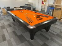 Full Sized American Pool Table Orange Cloth Slate Bed Barely Used