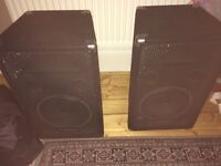 Stereo PA System with Speakers, Amp, Stands, Covers, Mic and Cables