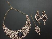 Indian jewellery necklace pierced earrings and tikka. Worn once for Hindu Wedding.