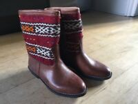 Woman's Cowboy Boots Size 6 genuine leather with Aztec pattern