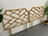 Rare Pair of Vintage Single Cane Bamboo Headboards Chippendale Scandi Boho Style