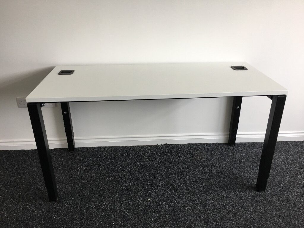 Office Desk in White with Adjustable Height Legs