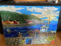 painting on canvas fisherman cleaning boat