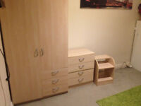 Wardrobe, drawer chest, bed side table