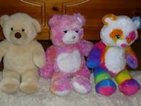 3 Build-a-Bear teddies in excellent condition with shoes, clothes and accessories