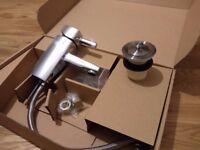 Chrome Bathroom Sink Mixer Tap and Plug