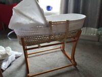 John Lewis Moses basket and Mothercare stand for sale