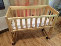 Troll bedside crib / cot / cotbed - includes John Lewis mattress and 2 covers, excellent condition