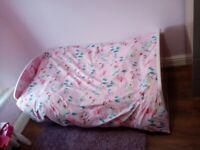 Single Girls Toddler Bed, mattress and duvet 90£