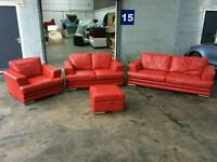 RED LEATHER 4 PIECE SUITE SOFA 3 +2+1+ FOOT STOOL WITH STORAGE VERY GOOD CONDITION DELIVER ALL UK