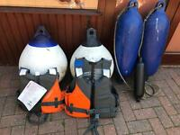 Four buoys and two life jackets