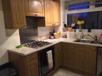 Kitchen worktop and cupboards
