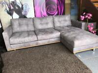 New Right Hand Corner Chaise Sofa in Grey Suede