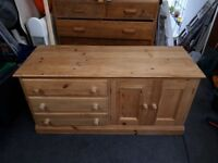 Solid wood pine unit draws,cupboard,tank/viv stand/tv unit/stand storage unit draws upcycle