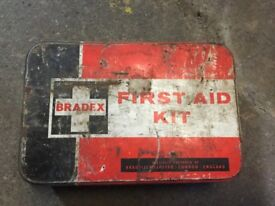 OLD EMPTY FIRST AID TIN great for collectors etc. MONEY for local cancer charity funds thanks 🙏.